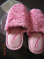 NIB New Small 5 6 Pink Rose Breast Cancer Rosette Slippers House Shoes