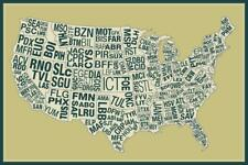 USA Airports Abbreviation Code Yellow inch Poster 24x36 inch