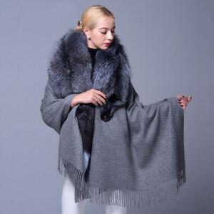 Women's Shawls Scarves Cashmere Shawl with Real Silver Fox Fur Collar Trim