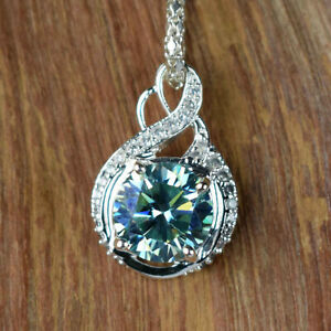 Exclusive 5.55 Ct Aqua Blue Diamond Solitaire High Quality Pendant With Accents