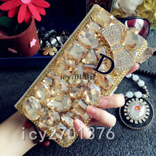 Jewelled Bling Crystal Diamond PU leather wallet flip Case Cover & long strap #C