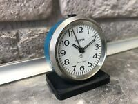 Vintage Mini Alarm Clock RAKETA USSR Blue Rare Collectible SERVICED