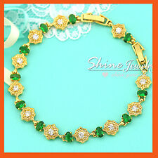24K YELLOW GOLD GF ANTIQUE FLORAL GREEN EMERALD DIAMONDS TENNIS BANGLE BRACELET