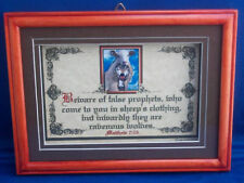 """NEW Bible Scripture Plaques/Signs """"WOLF IN SHEEP CLOTHING""""Christian,Framed Gift"""