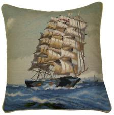 "16"" x 16"" Handmade Wool Needlepoint Boat Ship Pillow"
