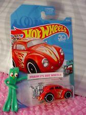 VOLKSWAGEN BEETLE #107 US 50❀Red/Yellow VW bug❀TOONED❀2018 Hot Wheels CASE E