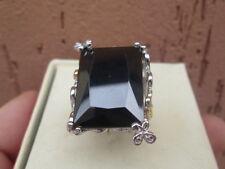 anello  argento 925  bianco e oro  quarzo fume'