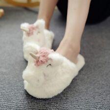 Plush Unicorn Slippers White Warm Cotton Padded Shoe Women Lady Winter Soft Cute