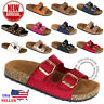 NEW Women's Slide Buckle T-Strap Cork Footbed Platform Flip Flop Shoes Sandals