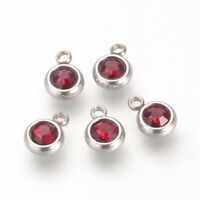 10x Stainless Steel Flat Round Rhinestone Charms For Jewelry Making8.5x6x3mm