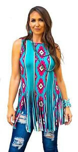 NWT Womens Neon Aztec Fringe Tank Top Size Large