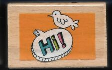 HI BIRD Fun Picture Photo Tag HAMPTON ART Thought Bubble Craft RUBBER STAMP
