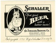 1933 Schaller Beer Label - Cincinnati, OH