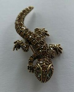 Ladies Lizard Gold Rhinestone Diamonte Costume Brooch M&S? Jewellery Gekko