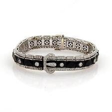 Estate 2.75ct Diamonds & French Cut Onyx Fancy 18k White Gold Bracelet