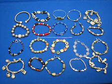 Bangles Handbag Shoe Charms Beads Silvertone 20 pc Lot Ladies Fashion Bracelets