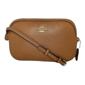 Coach #F65988 - Pebble Leather Crossbody Pouch Bag -  Double Zip