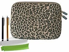 Bundle of Cheetah Print Canvas Fabric Sleeve Case Bag Cover for Kindle Fire HD