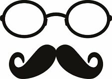 Glasses and Moustache Mustach Specs Sticker Decal Graphic Vinyl Label Back V2