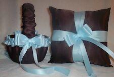 Brown Satin / Light Blue Trim Flower Girl Basket & Ring Bearer Pillow #2