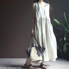2017 Sleeveless Spring Plus Size Women Lady Linen Loose Skirt Long Flax Tunic