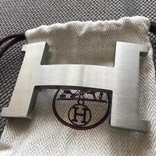 Auth Hermès belt buckle 42mm H Silver Brushed No Strap Herme