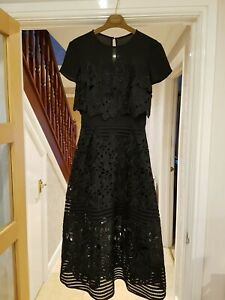 TED BAKER JANELLE BLACK LACE DRESS SIZE 1 UK 8 BNWT & BAG PARTY OCCASION PROM
