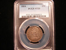 1834 Capped Bust Quarter graded by PCGS as VF35, as pictured.