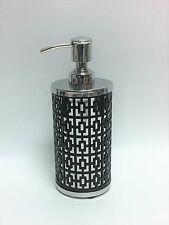 NEW PARADIGM SILVER METAL+BLACK CUT OUT FRAME BATHROOM SOAP,LOTION DISPENSER