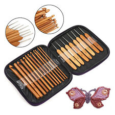 20Pcs Bamboo Crochet Hooks Knitting Needles Set with Purple Case Weave Tools
