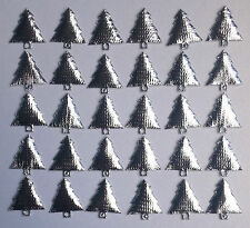 30 Silver Padded Fabric Christmas Trees