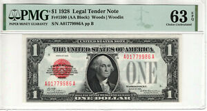 1928 $1 LEGAL TENDER RED SEAL FR.1500 PUERTO RICO NOTE PMG CU UNC 63 EPQ (986A)