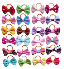60Pcs Small Dog Hair Bows With Rubber Bands Mixed Pet Puppy Cat Grooming Product