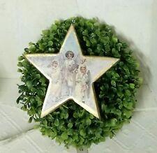 Shabby Madera Estrella Colgante Nostalgia Oro Crema 15cm Casa Campo Vintage