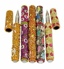5pc Indian Rajasthani Ethnic Useful Ballpoint Pen and Mirror or Glitters Work