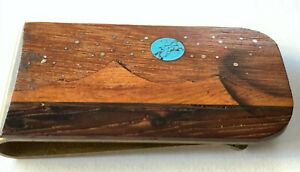 VTG Handmade Blue Moon Over the Mountains Inlaid MONEY CLIP in Wood + Turquoise