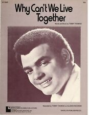 """TIMMY THOMAS """"WHY CAN'T WE LIVE TOGETHER"""" SHEET MUSIC-1972-EXTREMELY RARE-NEW!!"""