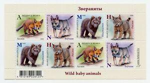 Belarus 2020 - Wild Baby animals: Fox, Wolf, Bear, Lynx - Mini Sheet. MNH**