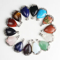 New Natural Gemstones Teardrop Silver Flower Reiki Chakra Pendant for Necklace