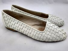 Sesto Meucci Of Florence Leather Woven Loafers Flats Cream Bone Womens size 7.5M