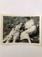 Vintage Affectionate Women Vacation Picnic 40s Real photo snapshot D3