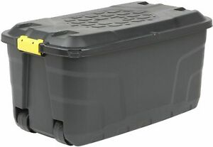 Strong Heavy Duty Large Plastic Storage Trunk 4 Wheels Strata 75L Capacity & Lid