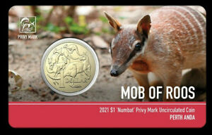 2021 Australia Perth Money Expo ANDA - Numbat Privy Mark $1 Mob of Roos Carded