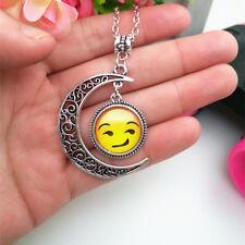 Emoji face Humph Emoticon moon Cabochon Glass chain pendant necklace*