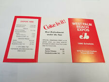 West Palm Beach Expos 1986 Minor Baseball Pocket Schedule - Coca Cola