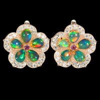 Unheated Pear Fire Opal Ruby White Topaz 925 Sterling Silver Flower Earrings