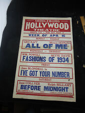Original 1934 MOVIE THEATER MARQUEE Poster Middleburg VA Red Fox Hollywood
