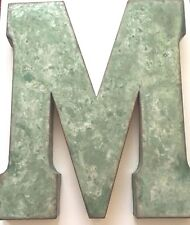 "BIG 20"" Metal Marquee Vintage Sign Letter M Distressed Emerald Green and Silver"