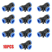 10pcs Tube 6mm Tee Union Pneumatic Push Connector Air Line Quick Fittings