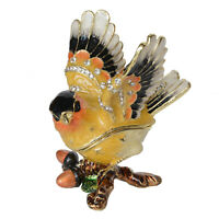 Goldfinch Bird Hinged Trinket Box Enameled Crystals Jeweled Keepsake Pill Casket